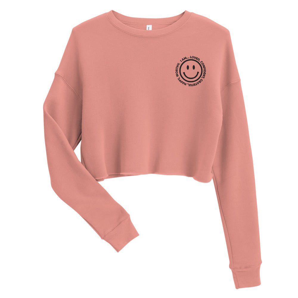 Smiley Embroidered Cropped Sweatshirt