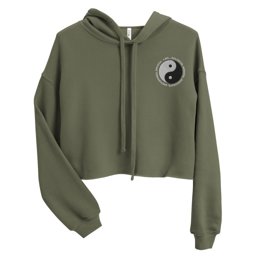 Yin & Yang Embroidered Cropped Hoodie Sweatshirt