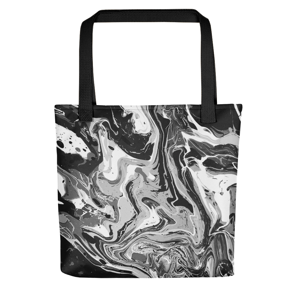 black and white marble tote