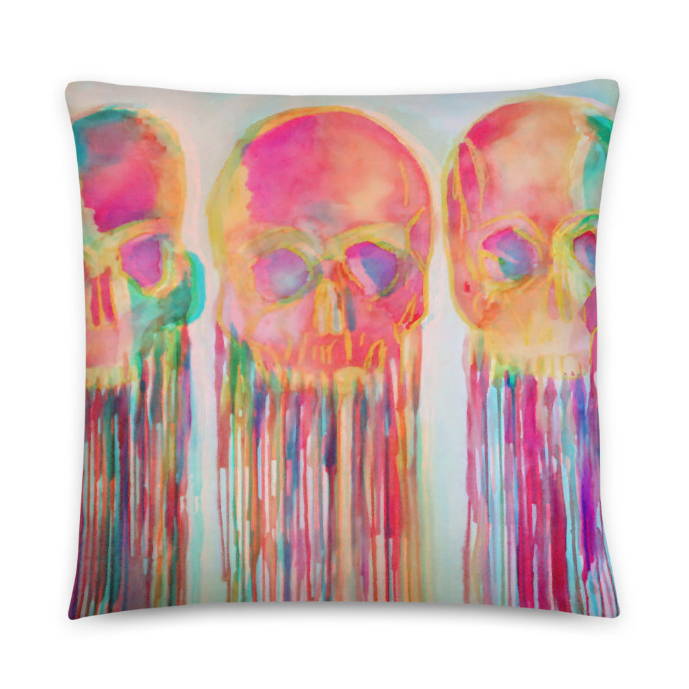 Three Skull Watercolor Pillow