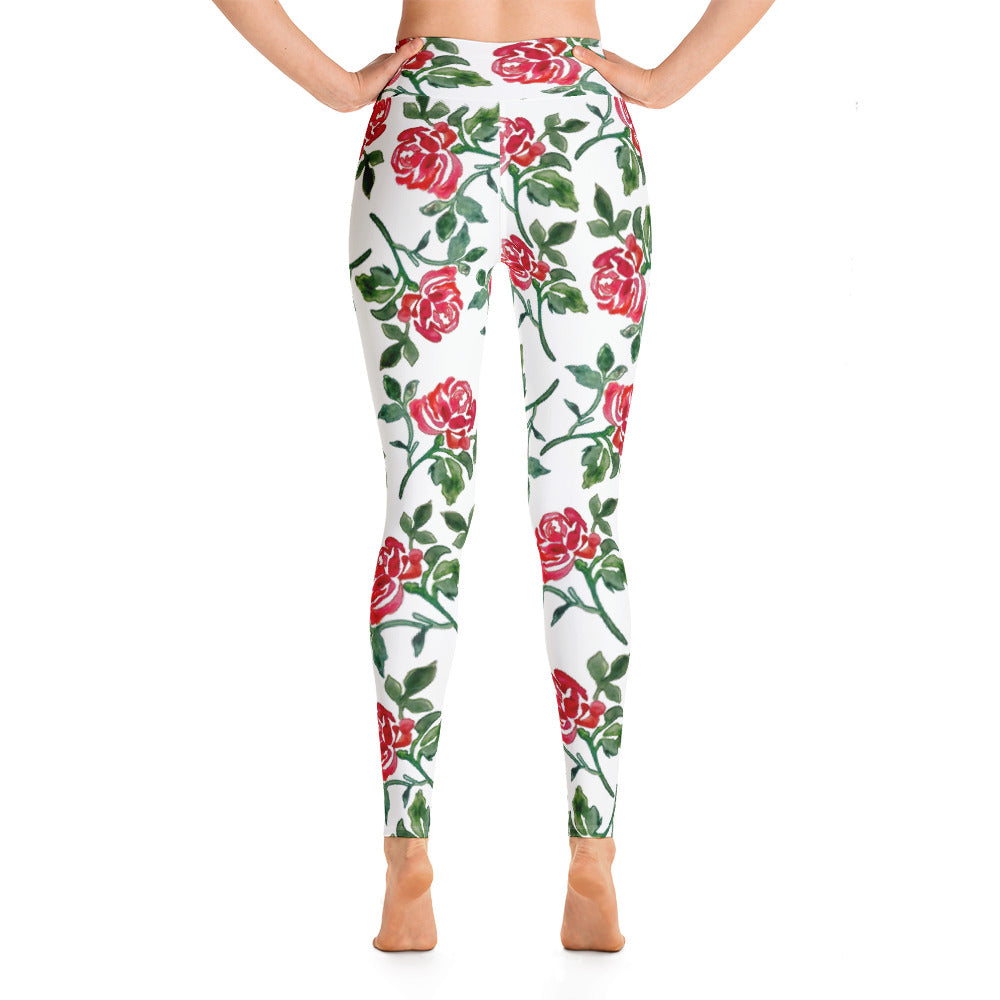 Red Rose Yoga Leggings