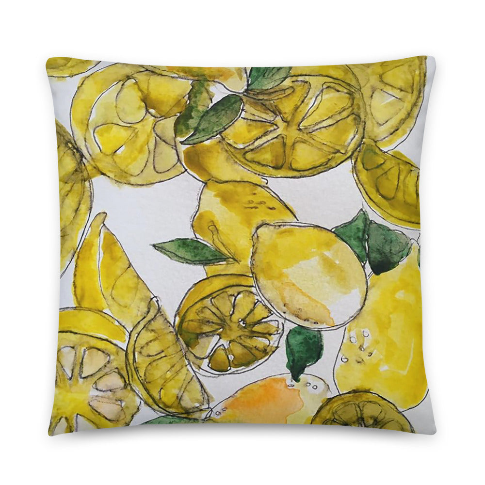 Lemon Watercolor Pillow