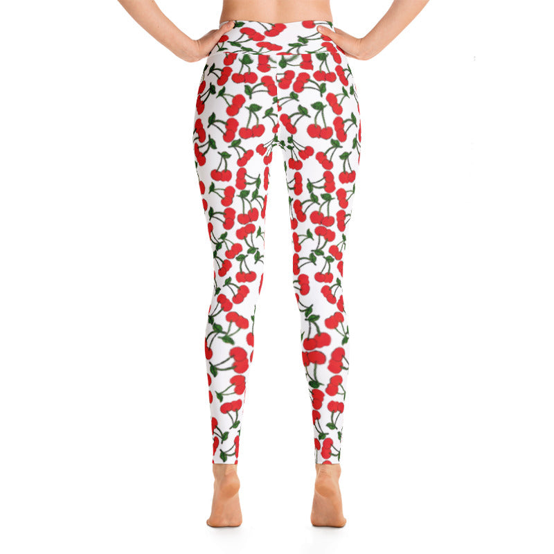 White Cherries Yoga Leggings