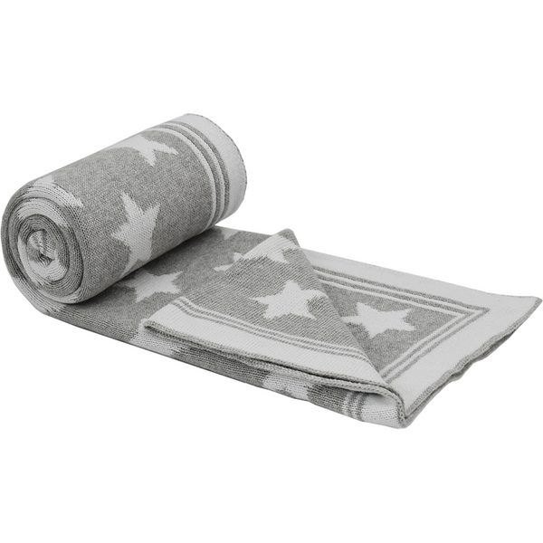 Knitted Jacquard Blanket - Grey with stars