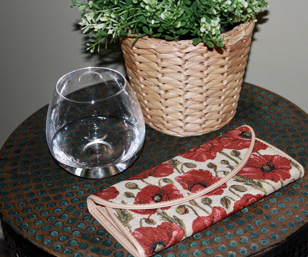 Poppy Flower Tapestry Purse