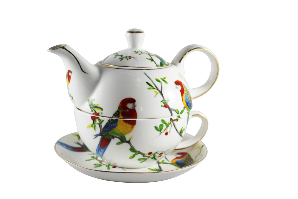 Rainforest Parrots Tea Pot for One