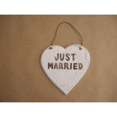 Heart Just Married (carved) white