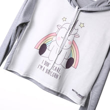 New Fashion Women Clothing Jumper Unicorn Printed Crop Tops Long Sleeve Sweatshirt Stretch Hooded Coat Pullover - Carrie Co Baby