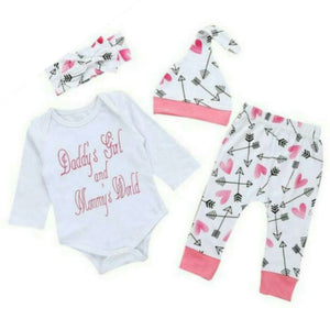 Daddy's girl and Mommy's world 4 piece set - Carrie Co Baby