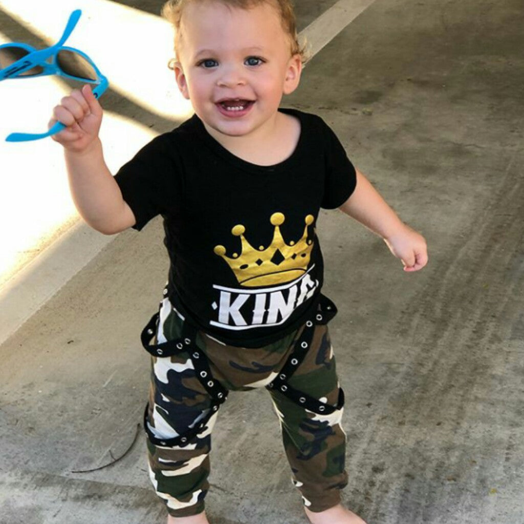 KING  T-shirt+Camo Pants 2Pc
