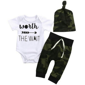 WORTH THE WAIT Boy's Romper+Pants+hat 3pc - Carrie Co Baby