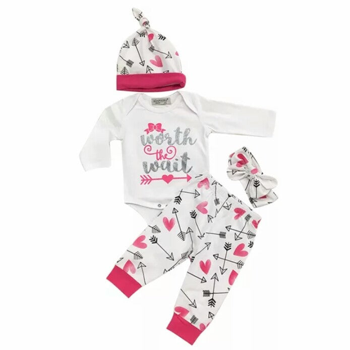 WORTH THE WAIT Girl's Romper+Pants+Cute+Hat+Headband 4Pc - Carrie Co Baby