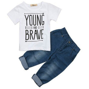 YOUNG AND BRAVE Short Sleeve T Shirt + Denim Pants Set - Carrie Co Baby