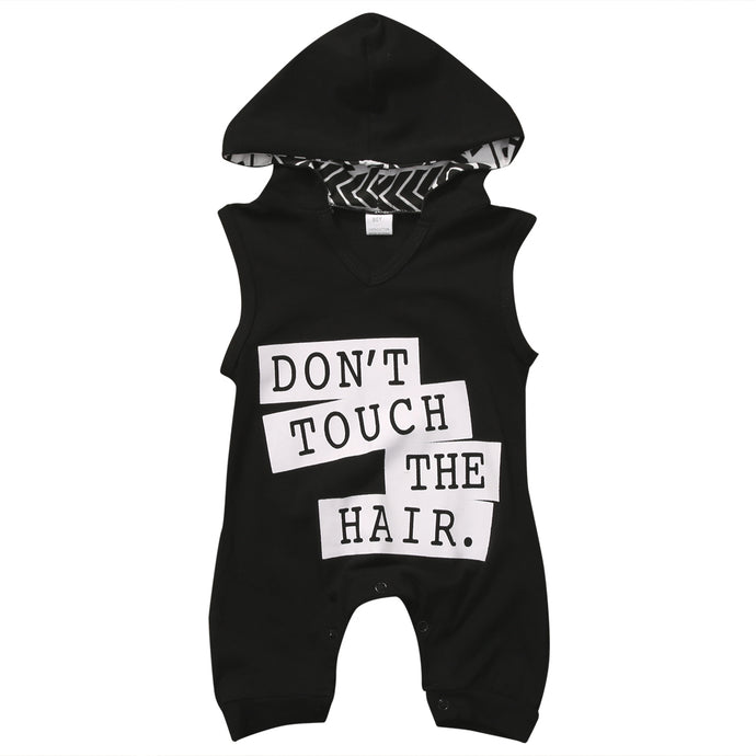 DON'T TOUCH THE HAIR Hooded Romper - Carrie Co Baby