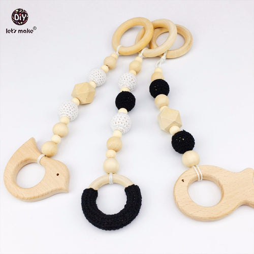 BLACK & WHITE PLAY GYM TOYS /TEETHERS 3 piece Wooden set - Carrie Co Baby