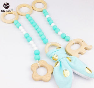 BLUE PLAY GYM TOYS /TEETHERS 3 piece Wooden set - Carrie Co Baby