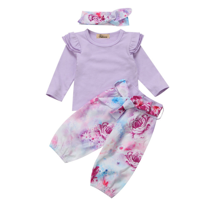FLORAL RUFFLES Long Sleeve Top + Bowknot Pants + Headwrap 3Pc - Carrie Co Baby