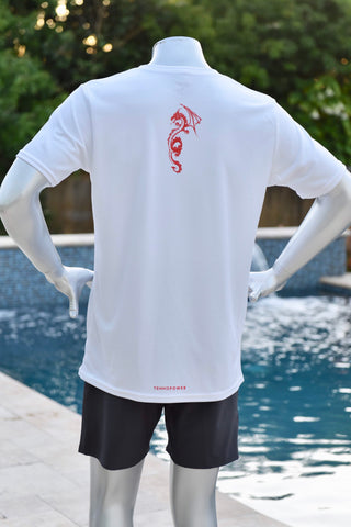 Flying Dragon Shirt - White/Red- Men