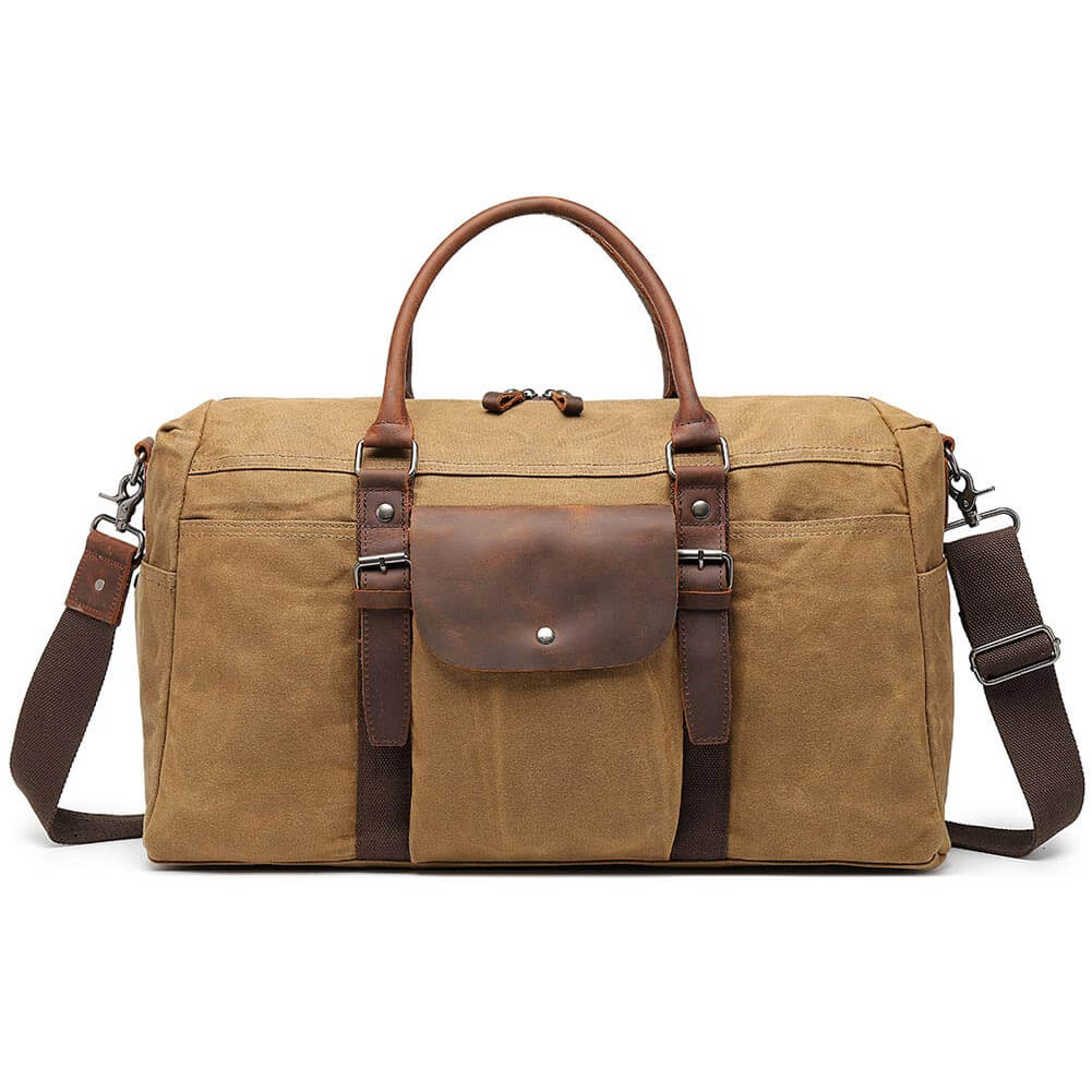 5ecf39a83968 Oversized Travel Duffel Bag Waxed Canvas Overnight Weekend Hand Bags With  Vintage Leather Trim Brown