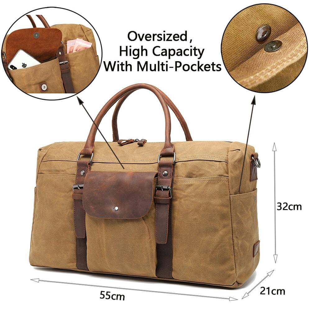 Leather Canvas Duffel Bags Extra Large Travel Oversized Strap Weekend Handbag
