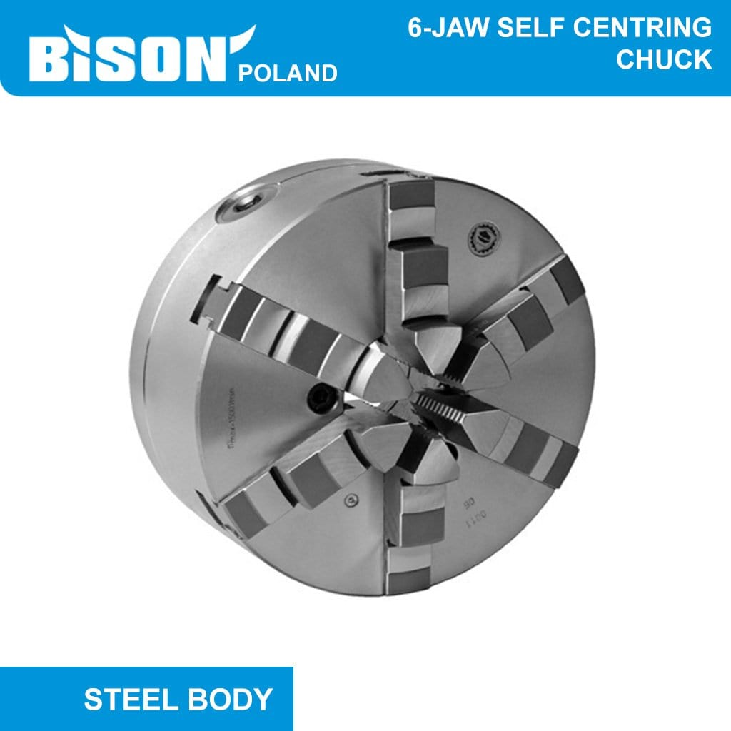 Bison Poland 3804 6-Jaw Self-Centring Backplate Mounted Chuck with 2-sets of Jaws