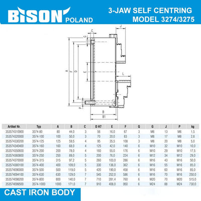 Bison Poland 3274 3-Jaw Self-Centring Chuck, Front Mount (DIN 6350) Bolt On Jaws, Cast Iron Body, 2-sets of Jaws