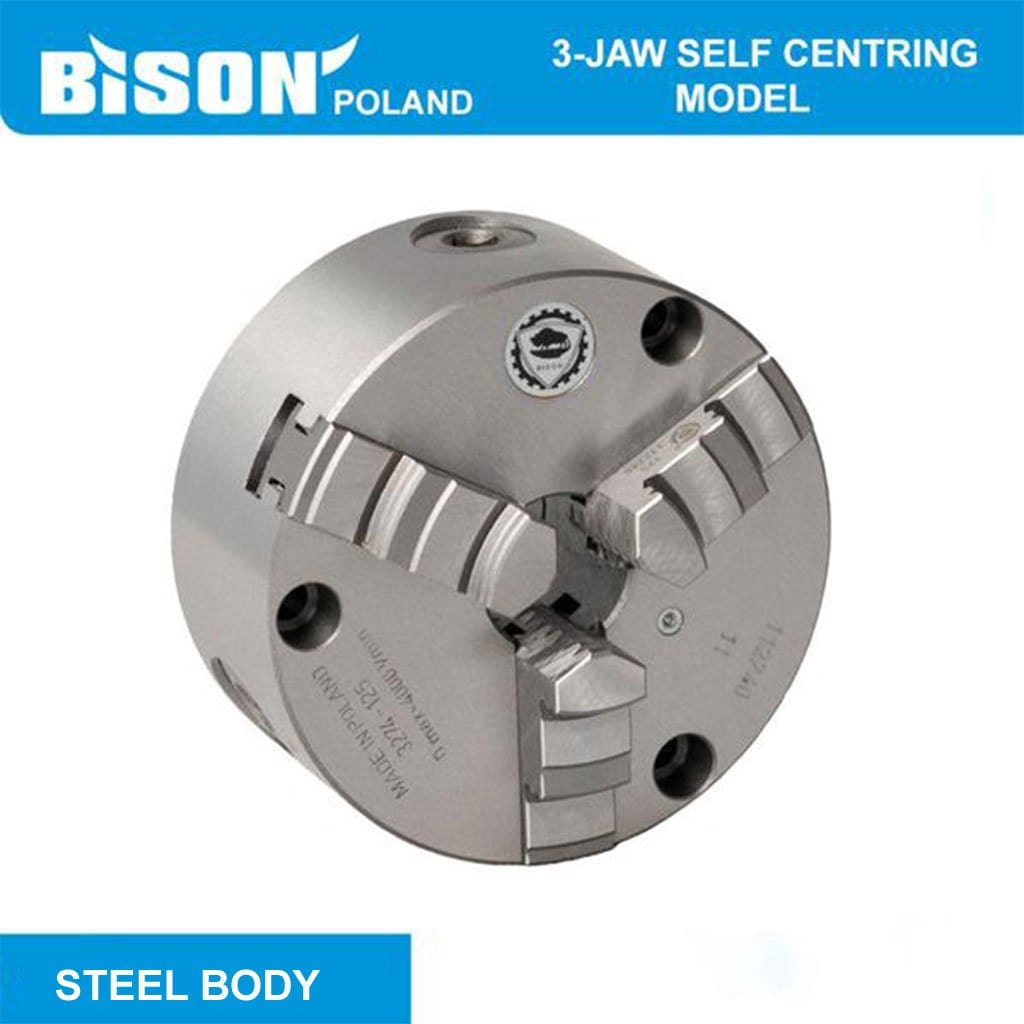 Bison Poland - 3575 3-Jaw Chuck Self Centring Steel Body DIN 6350 front mounting with 2 sets of Jaws