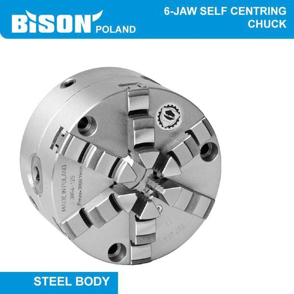 Bison Poland 3864 6-Jaw Self-Centring, Direct Fitting(Camlock) Bolt On Jaws, Steel Chuck 2-sets of Jaws