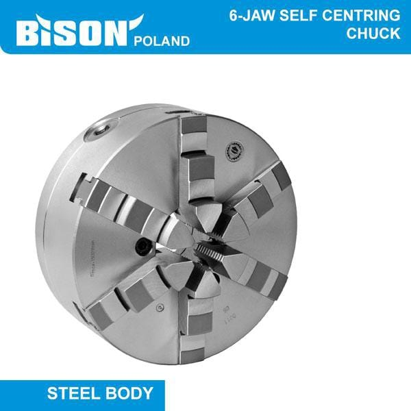 Bison Poland 3806 6-Jaw Self-Centring Chuck, Backplate Mount Bolt On Jaws, Steel Body, 2-sets of Jaws