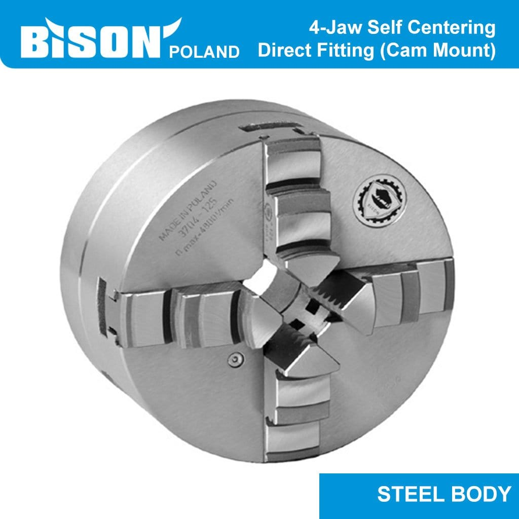Bison Poland 3734 4-Jaw Self-Centring Chuck,Direct Fitting Mounted, Steel Body, 2-sets of Jaws