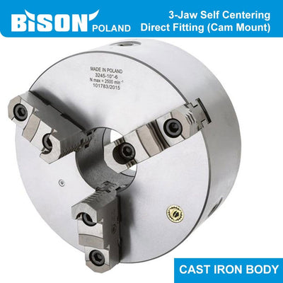 Bison Poland 3245 3-Jaw Self-Centring Chuck, Direct Fitting (Camlock), Cast Iron Body, 2-sets of Jaws