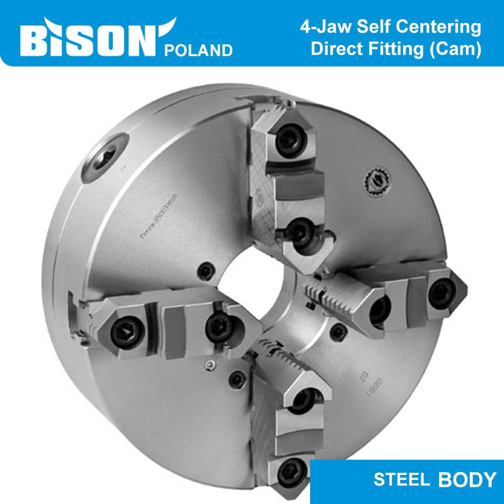 Bison Poland 3645 4-Jaw Self-Centring Chuck, Direct Fitting(Camlock) Bolt On Jaws, Steel Body, 2-sets of Jaws