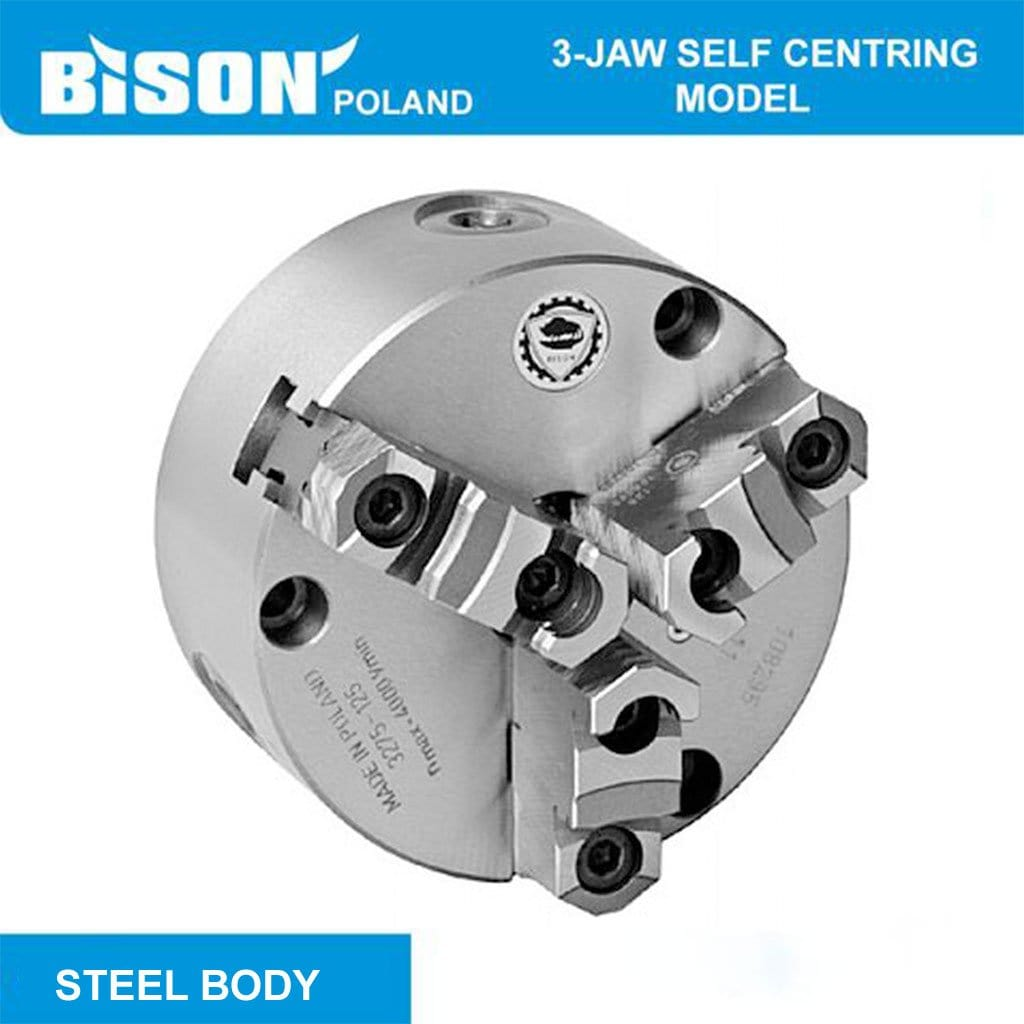 Poland 3574 3-Jaw Self-Centring Chuck, DIN 6350, Steel Body, 2-sets of Jaws