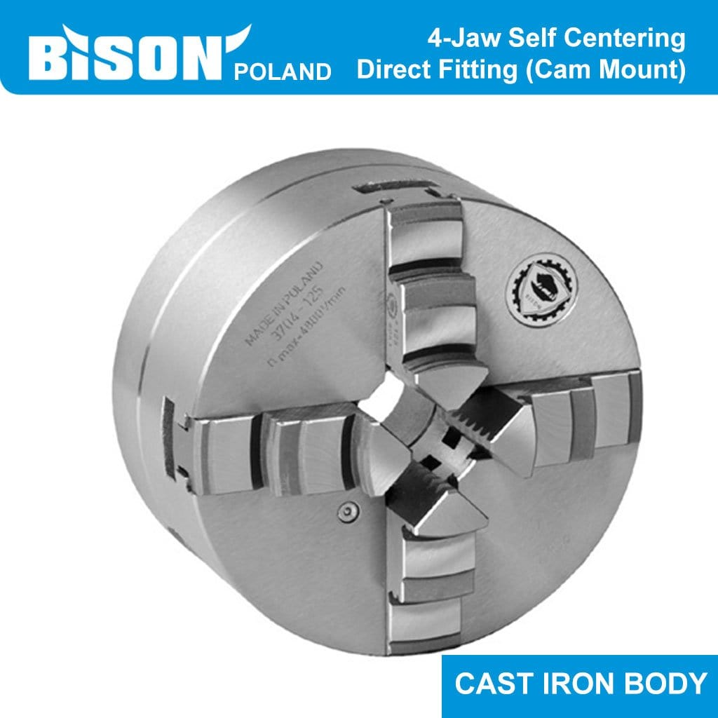 Bison Poland 3634 4-Jaw Self-Centring Chuck, Direct FItting, Cast Iron Body, 2-sets of Jaws