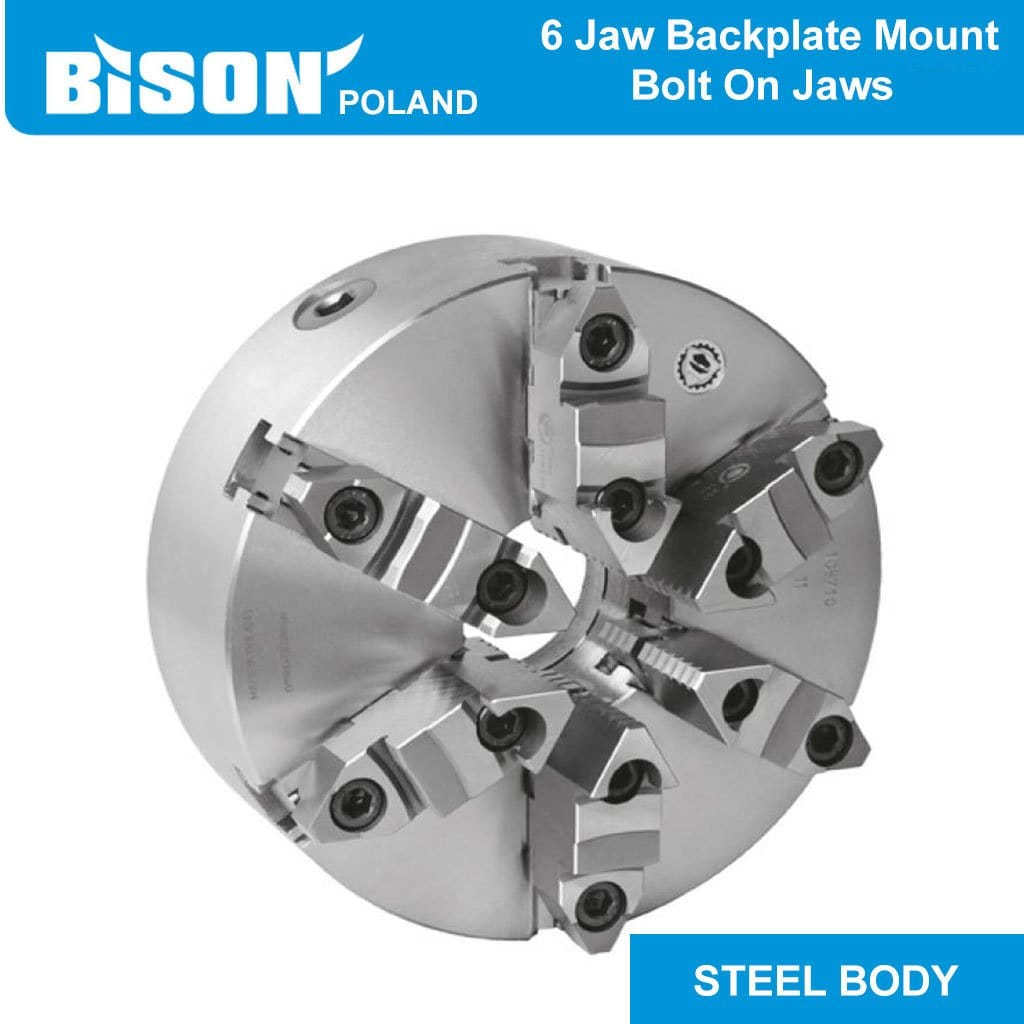 Bison Poland 3807 6-Jaw Self-Centring, Backplate Mounted, Steel Body Chuck 2-sets of Jaws