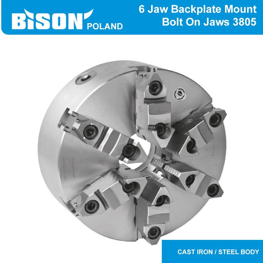 Bison Poland 3805 6-Jaw Self-Centring Backplate Mounted Chuck  with 2-sets of Jaws