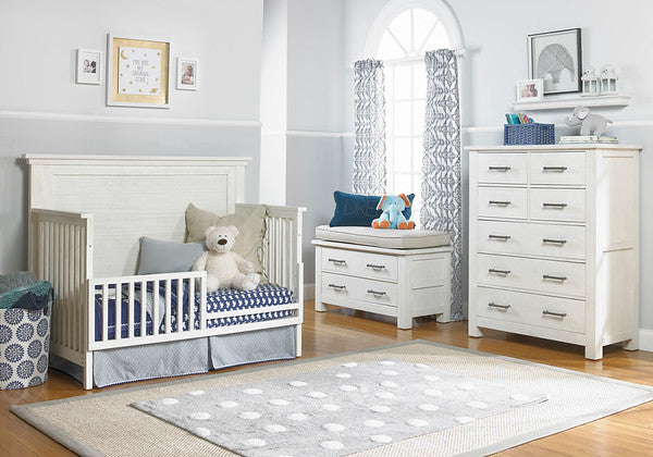 Lucca Flat Top Full Panel Convertible Crib - Sea Shell White