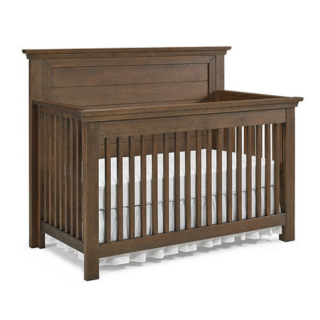 Lucca Flat Top Full Panel Convertible Crib - Weathered Brown