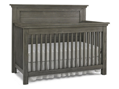 Lucca Flat Top Full Panel Convertible Crib - Weathered Grey