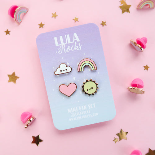 Kawaii Sky Pink Enamel Pin Set