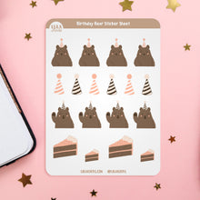Load image into Gallery viewer, Birthday Bear Planner Sticker Sheet