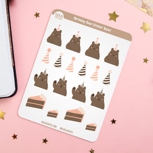 Birthday Bear Planner Sticker Sheet