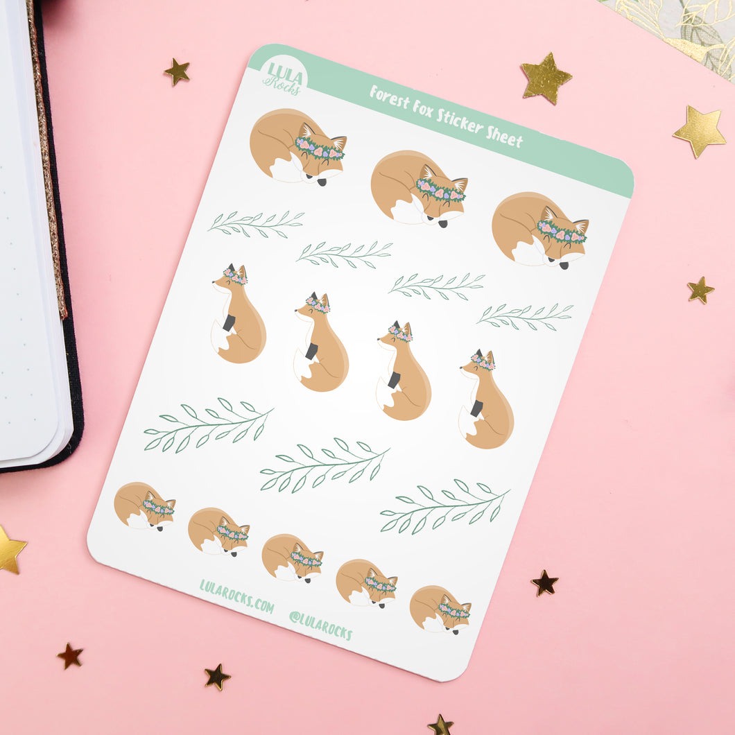 Forest Fox Planner Sticker Sheet