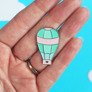 Hot air balloon glitter enamel pin