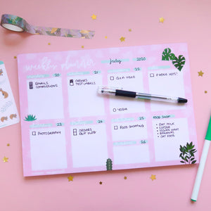 Plants A4 Weekly Desk Planner - Dotted