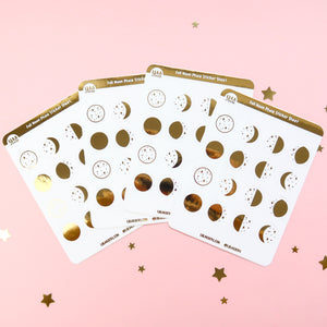 Gold Foil Moon Phase Sticker Sheet