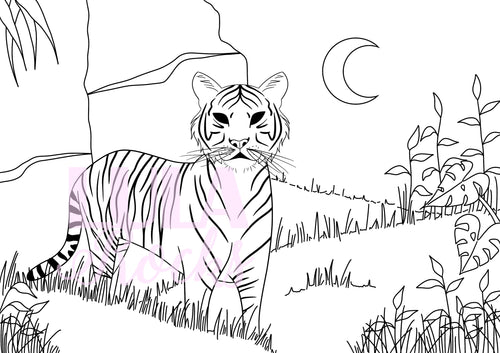 Dreamy Tiger Colouring Page