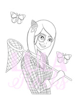 Load image into Gallery viewer, Bug Hunting Girl Colouring Page