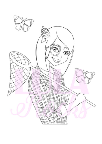 Bug Hunting Girl Colouring Page