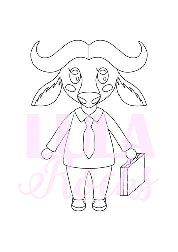 Cute Buffalo Colouring Page